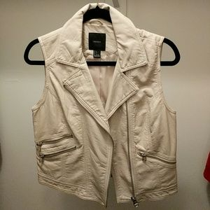 Forever 21 cream vegan leather vest